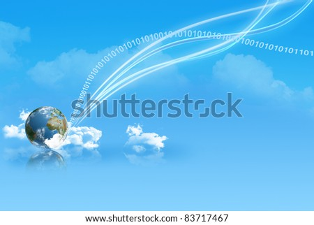 digital rays having touchdown with new technologies on earth - stock photo