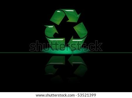 digital recycle symbol - stock photo