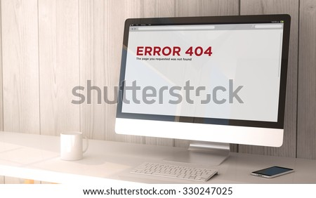 digital render generated workspace with computer and smartphone. error 404 on the screen. All screen graphics are made up. - stock photo
