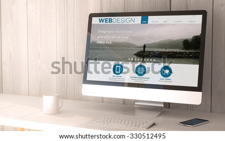 digital render generated workspace with computer and smartphone. web design website on screen. All screen graphics are made up. - stock photo