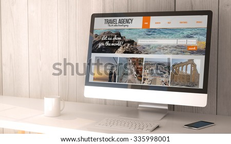 digital render generated workspace with computer and smartphone with travel agency online on the screen. All screen graphics are made up. - stock photo