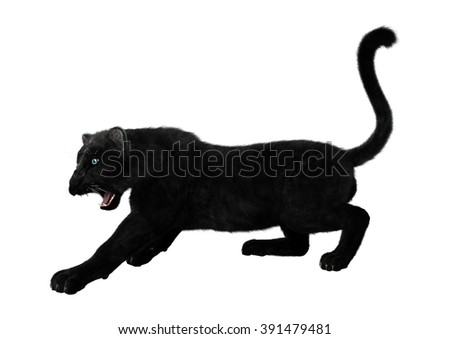 Digital render of a big cat black panther hunting isolated on white background - stock photo