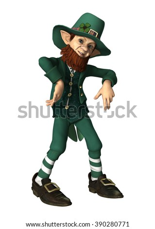 Digital render of a leprechaun isolated on white background