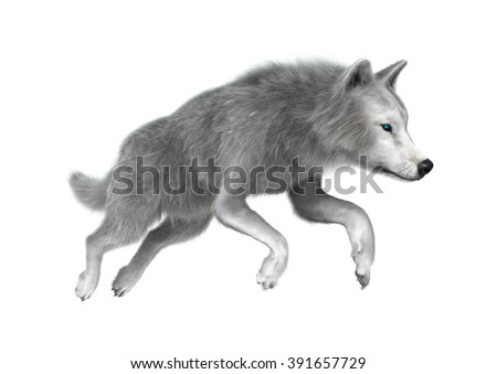 Digital render of a polar wolf jumping isolated on white background