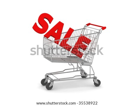 digital render of a Shopping Cart with SALE in the basket