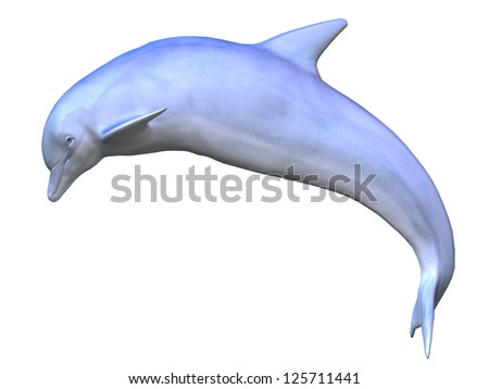 Digital render of a swimming dolphin on white background. - stock photo