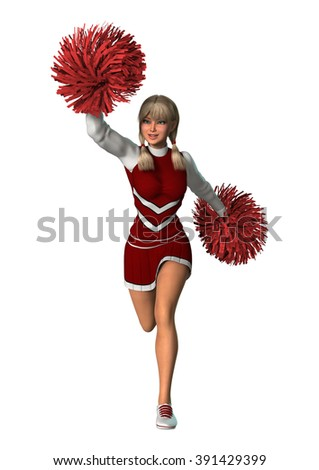 Digital render of a young cheerleader with pompoms isolated on white background