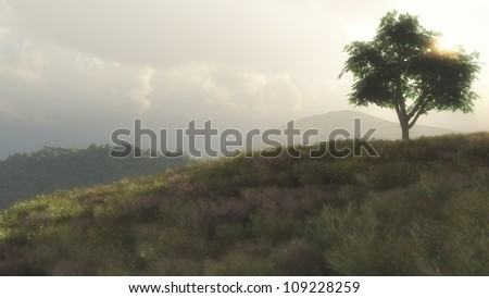 Digital rendering of a mountain landscape sunset with a tree in the foreground.