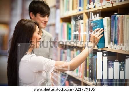 Digital representation of pie chart against students choosing a book on a shelf - stock photo