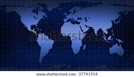 Digital representation of the world with binary matrix over it - stock photo