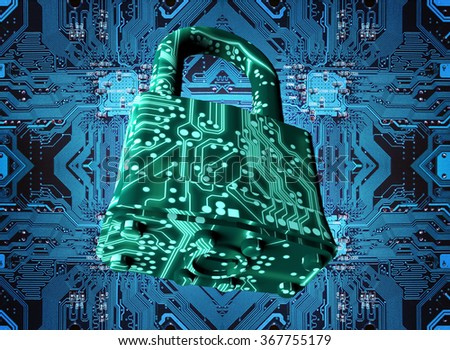 digital safety concept padlock in electronic environment. - stock photo