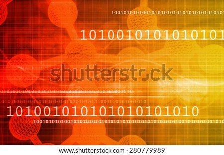 Digital Science with Virtual Technology in Art - stock photo