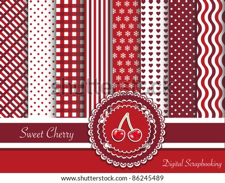 Digital scrapbooking paper swatches in red tones with ribbon and sweet cherry sticker. Also available in vector format.