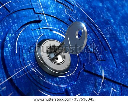 Digital security concept -  key in keyhole - stock photo