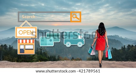 Digital shopping diagram on a white background against composite image of woman standing with shopping bags - stock photo