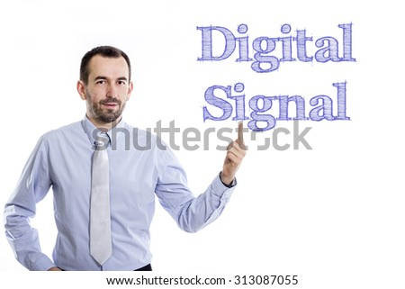 Digital Signal - Young businessman with small beard pointing up in blue shirt - stock photo