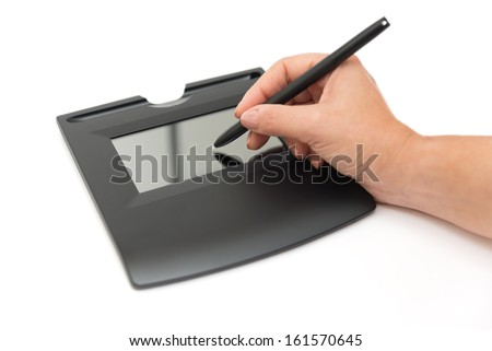 digital signature on sign pad - stock photo