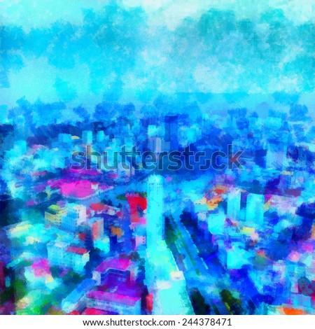 Digital simulation of painting. Watercolor painting rainbow city - stock photo