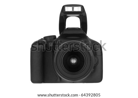 Digital Single Lens Reflex (clipping path) on white background - stock photo