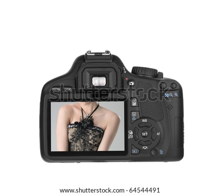 Digital Single Lens Reflex-in action (clipping path) on white background - stock photo