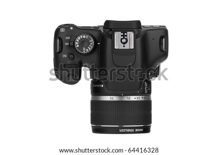 Digital Single Lens Reflex-top view (clipping path) - stock photo