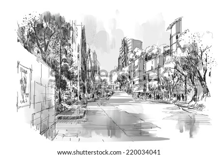digital sketch of street park - stock photo