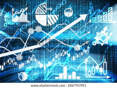 Digital sketch of the different financial charts, graphs and calculations. A concept of capital market transactions and forex trading. - stock photo