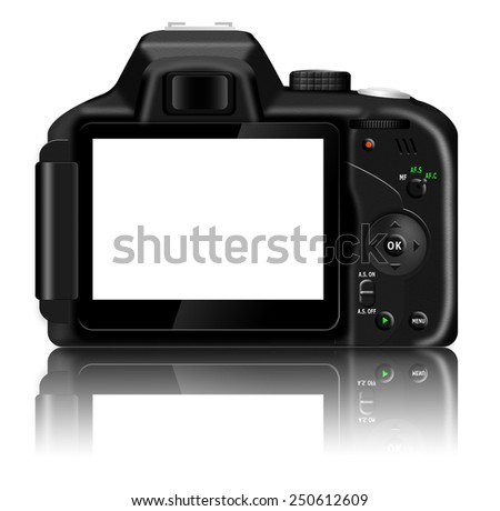Digital SLR camera (dSLR) with blank LCD screen and a reflection isolated on white background - stock photo
