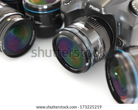 Digital slr camera with lens. Space for text. - stock photo