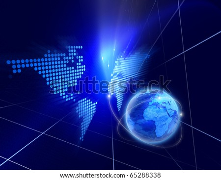 Digital space - Abstract blue digital background with blue globe - stock photo