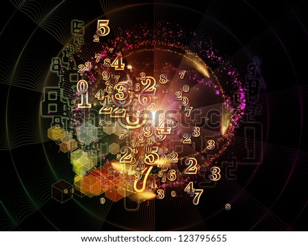 Digital Splash series. Abstract arrangement of numbers, gradients and fractal elements suitable as background for projects on mathematics, computers, science and modern technologies - stock photo