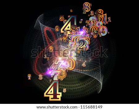 Digital Splash series. Abstract composition of numbers, gradients and fractal elements suitable as element in projects related to mathematics, computers, science and modern technologies - stock photo
