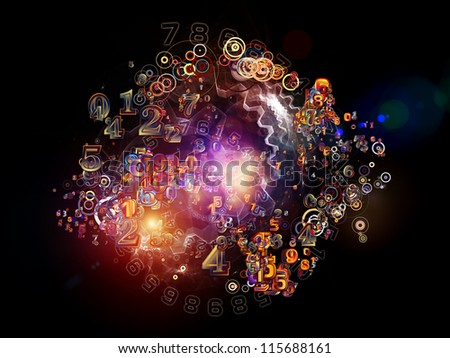 Digital Splash series. Artistic background made of numbers, gradients and fractal elements for use with projects on mathematics, computers, science and modern technologies - stock photo