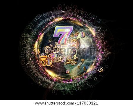 Digital Splash series. Backdrop design of numbers, gradients and fractal elements to provide supporting composition for works on mathematics, computers, science and modern technologies - stock photo