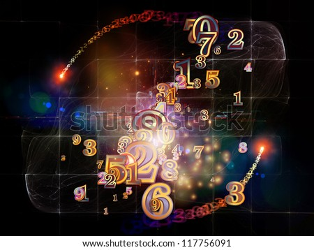Digital Splash series. Backdrop of  numbers, gradients and fractal elements to complement your design on the subject of mathematics, computers, science and modern technologies