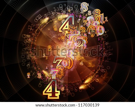 Digital Splash series. Composition of numbers, gradients and fractal elements with metaphorical relationship to mathematics, computers, science and modern technologies - stock photo