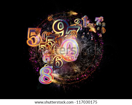 Digital Splash series. Creative arrangement of numbers, gradients and fractal elements as a concept metaphor on subject of mathematics, computers, science and modern technologies - stock photo