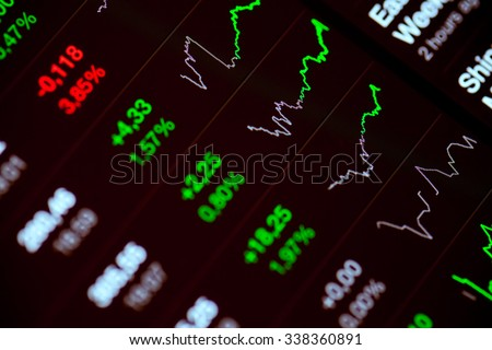 Digital stock market chart on a tablet screen - stock photo