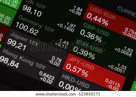 Digital stock market listing on a tablet screen - stock photo