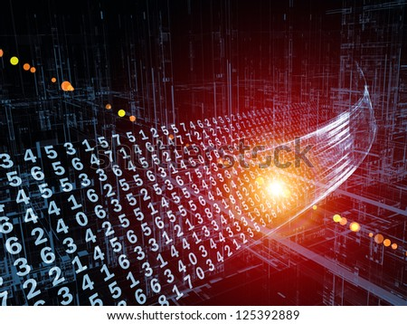 Digital Streams series. Abstract arrangement of numbers, lights and design elements suitable as background for projects on digital communications, data transfers and virtual reality - stock photo