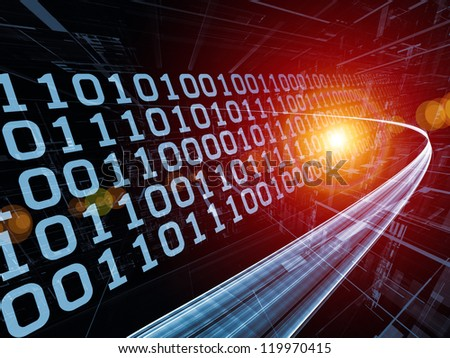 Digital Streams series. Arrangement of numbers, lights and design elements on the subject of digital communications, data transfers and virtual reality - stock photo