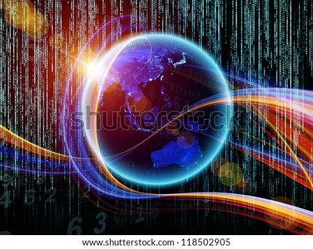 Digital Streams series. Backdrop of numbers, lights and design elements on the subject of digital communications, data transfers and virtual reality - stock photo