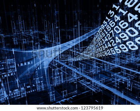 Digital Streams series. Composition of numbers, lights and design elements on the subject of digital communications, data transfers and virtual reality - stock photo