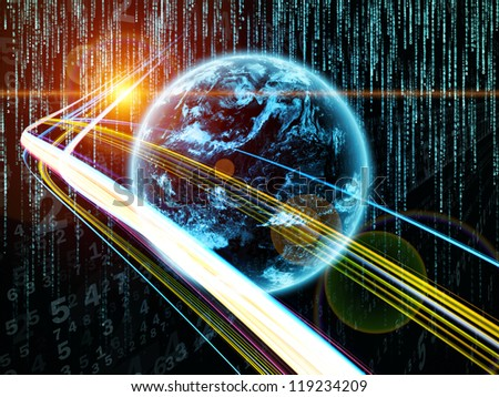 Digital Streams series. Composition of numbers, lights and design elements suitable as a backdrop for the projects on digital communications, data transfers and virtual reality - stock photo