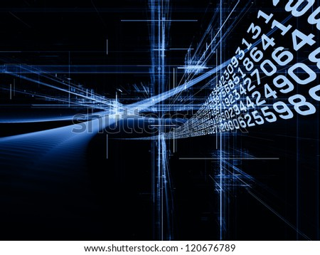 Digital Streams series. Creative arrangement of numbers, lights and design elements as a concept metaphor on subject of digital communications, data transfers and virtual reality - stock photo