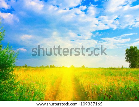 Digital structure of painting. Beautiful summer landscape. - stock photo