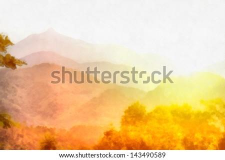 Digital structure of painting. Misty sunrise - stock photo