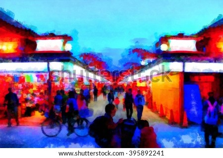 Digital structure of painting. Night Market in Asia - stock photo