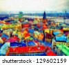 Digital structure of painting. Panoramic view of city - stock photo