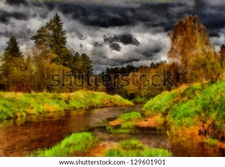 Digital structure of painting. Pond in summer forest - stock photo
